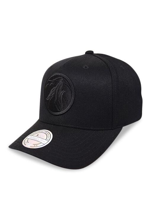 M&N 110 Timberwolves All Black Logo Snapback Angle