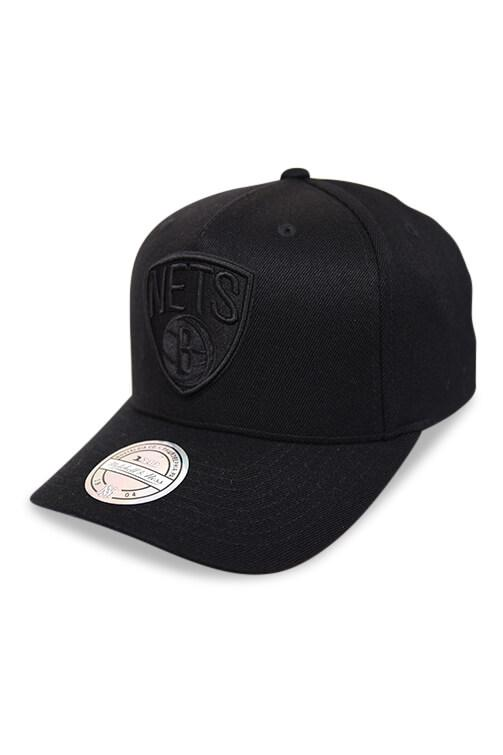 M&N 110 Brooklyn Nets All Black Logo Snapback Angle