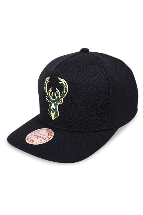 M&N Milwaukee Bucks Tuff Weld Black Snapback Angle