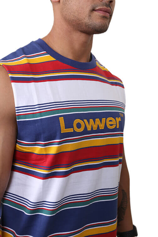 Lower Lowcase Cut Tank  Blue/Green Detail
