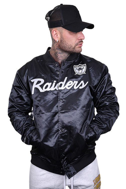 M&N Raiders Special Script Satin Jacket Black