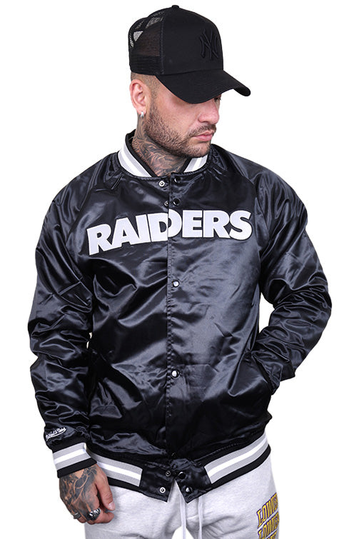 M&N Raiders Lightweight Satin Jacket Black