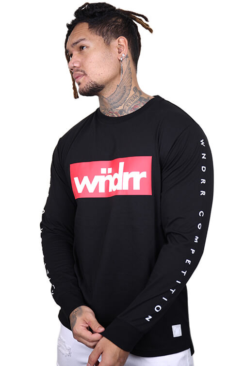 WNDRR Accent Long Sleeve Tee Black Front