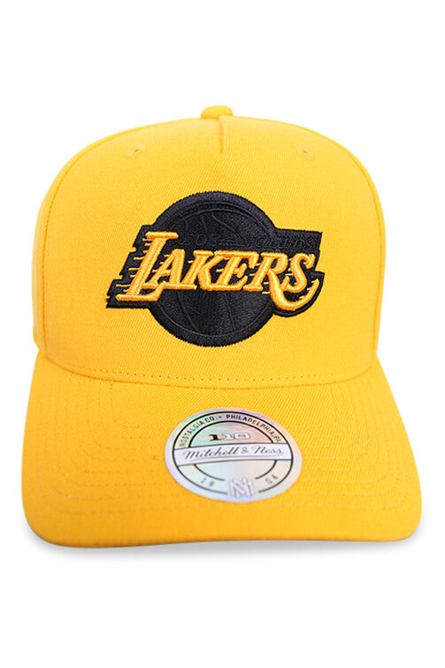 M&N Lakers 110 Pinch Panel Crown Gold Snapback