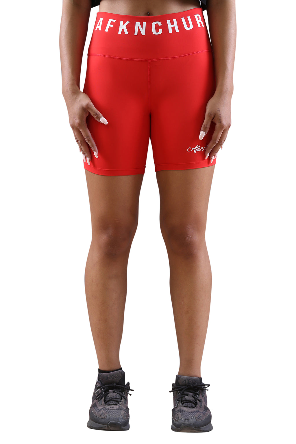 AFKNCHUR Womens Bike Shorts Red Front