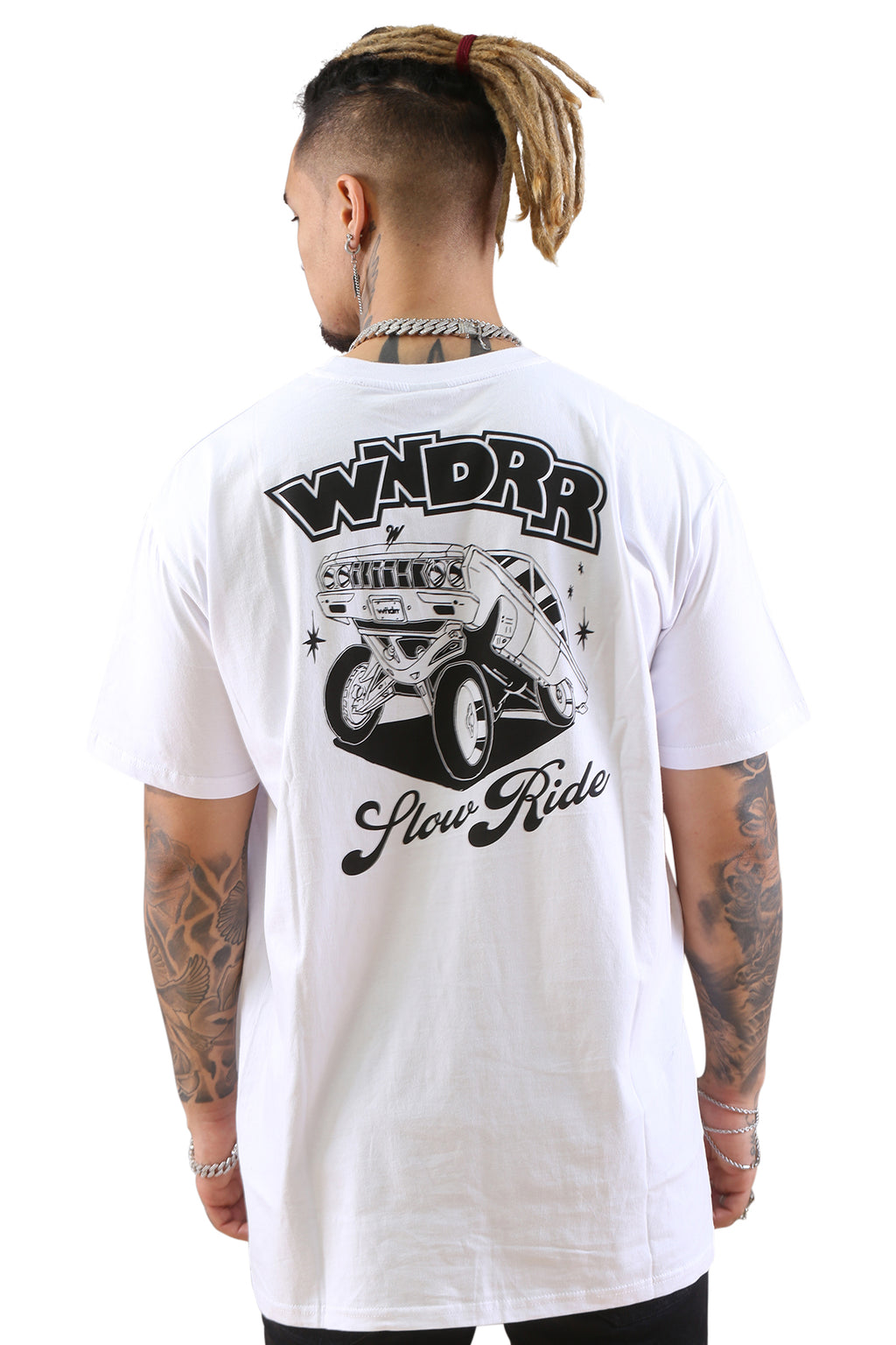 WNDRR Slow Ride Custom Fit Tee White Back