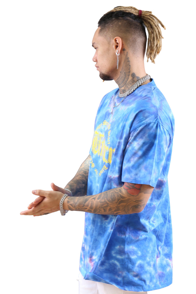 WNDRR Steel Tie Dye Custom Fit Tee Blue Angle 2