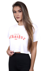 AFKNCHUR Womens Lifestyle Crop White/Red