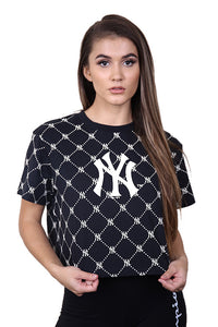Majestic Womens NY Daxa Crop Tee Black