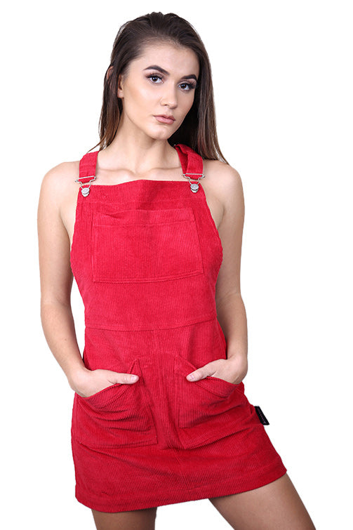 Lower Womens Sally Cord Dress Red Front