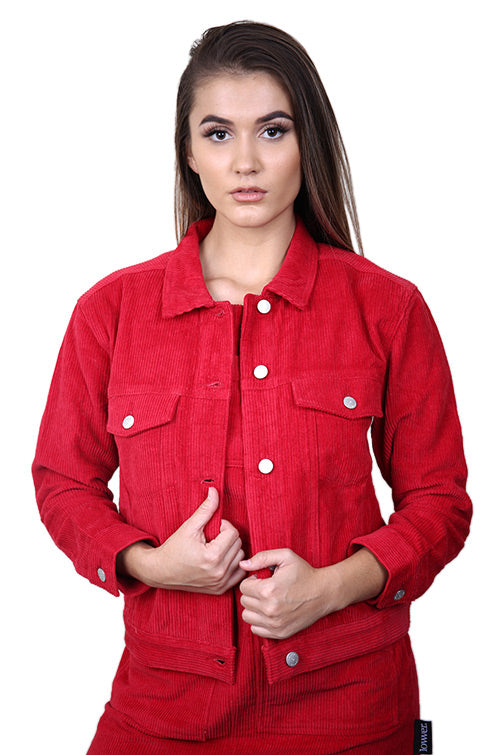 Lower Womens Flynn Cord Jacket Red