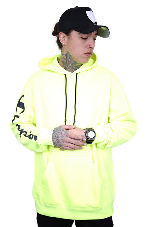 Champion EU Legacy Hoodie Fluro Lime Front
