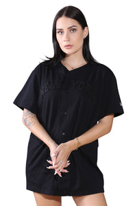 New Era NY Wordmark Button Up Tee Black