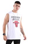 M&N Bulls Retro Repeat Muscle White