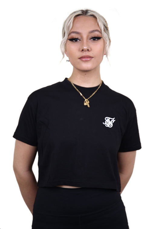 SikSilk Retro Box Fit Crop Tee Black Front