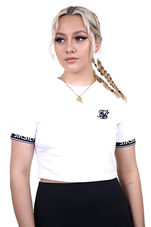 SikSilk Crop Tech Tee White Front