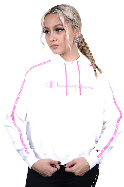 Champion Womens EU Legacy Tape Hoodie White Front