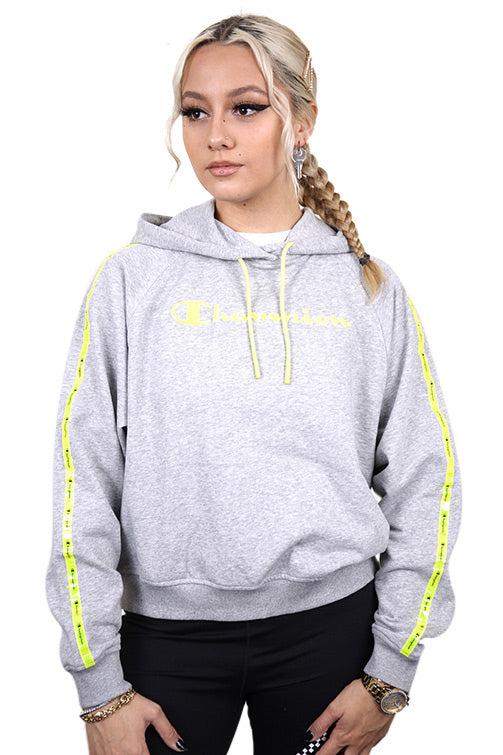 Champion Womens EU Legacy Tape Hoodie Oxford Grey Front