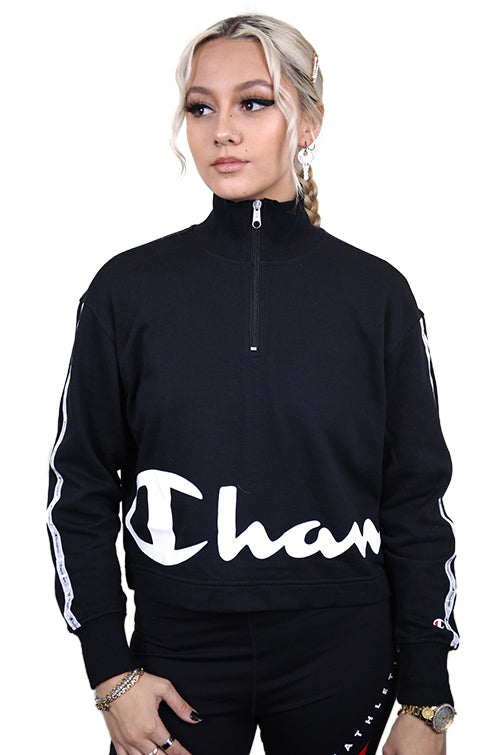 Champion Womens EU Legacy 1/4 Zip Black Front