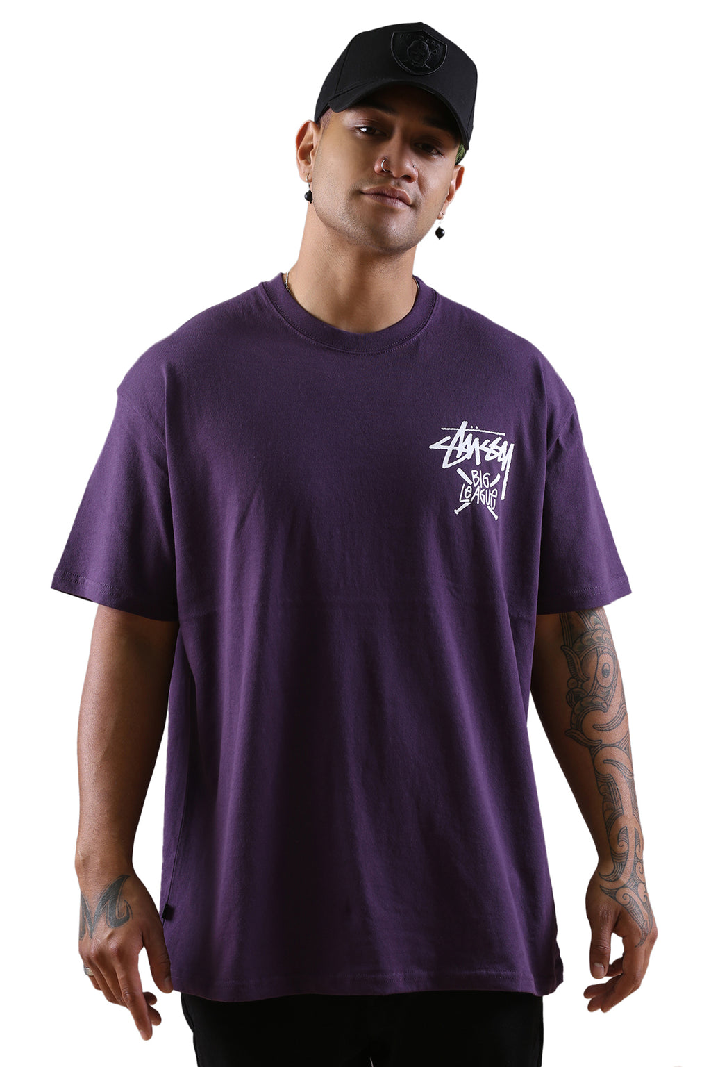 Stussy Big League S/S Tee Aubergine Front