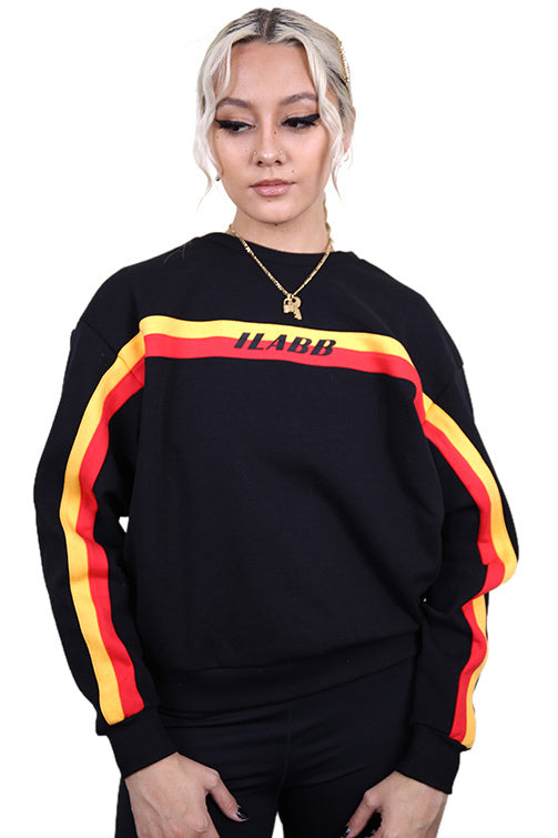 Ilabb Womens Partition Crew Black/Red Front