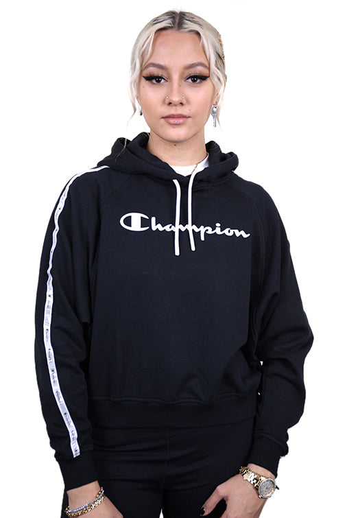 Champion Womens EU Legacy Tape Hoodie Black Front
