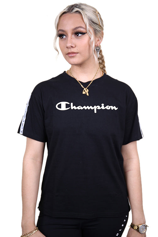 Champion Womens EU Legacy Tape Tee Black Front
