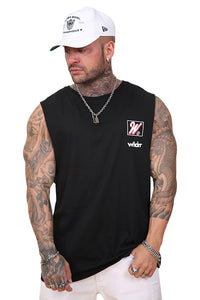 WNDRR Rockwell Muscle Top Black Front