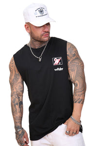 WNDRR Rockwell Muscle Top Black Angle