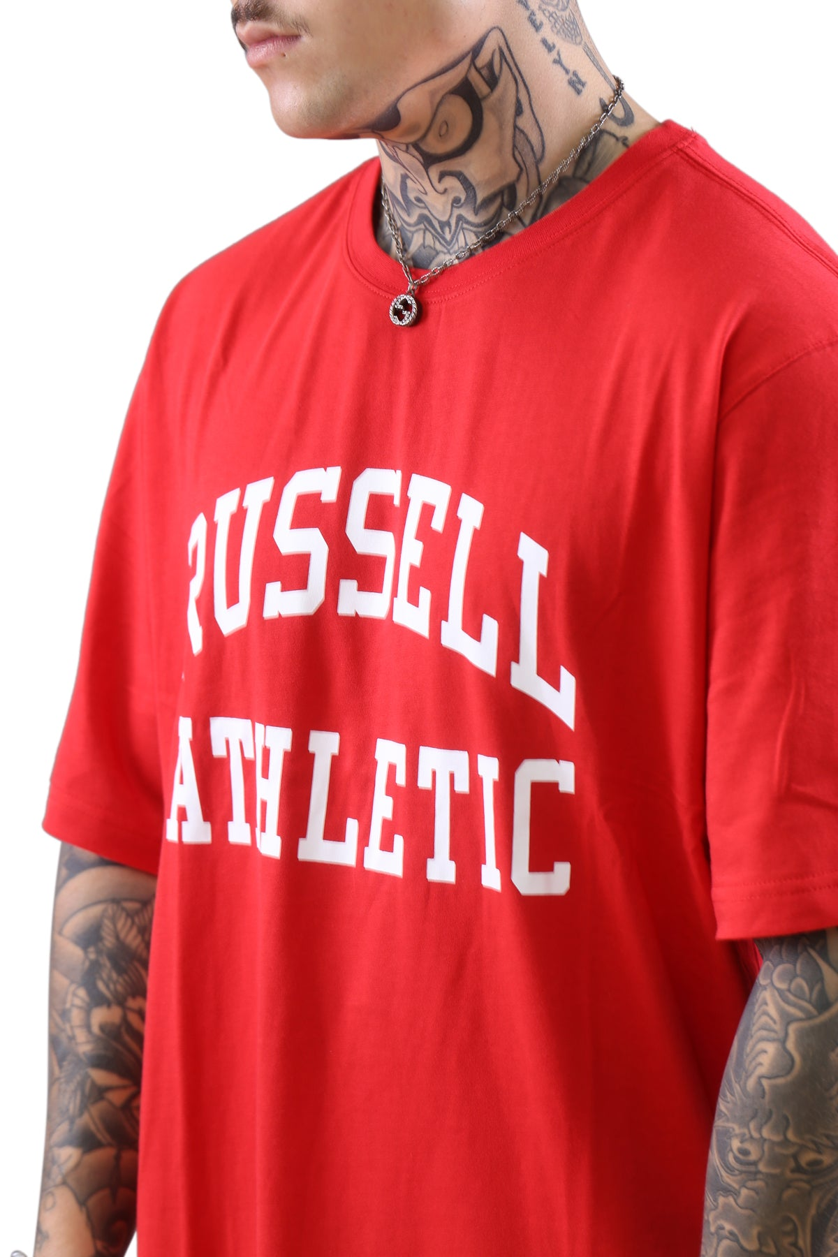 Russell Athletic Arch Logo Crew Tee Flame/White