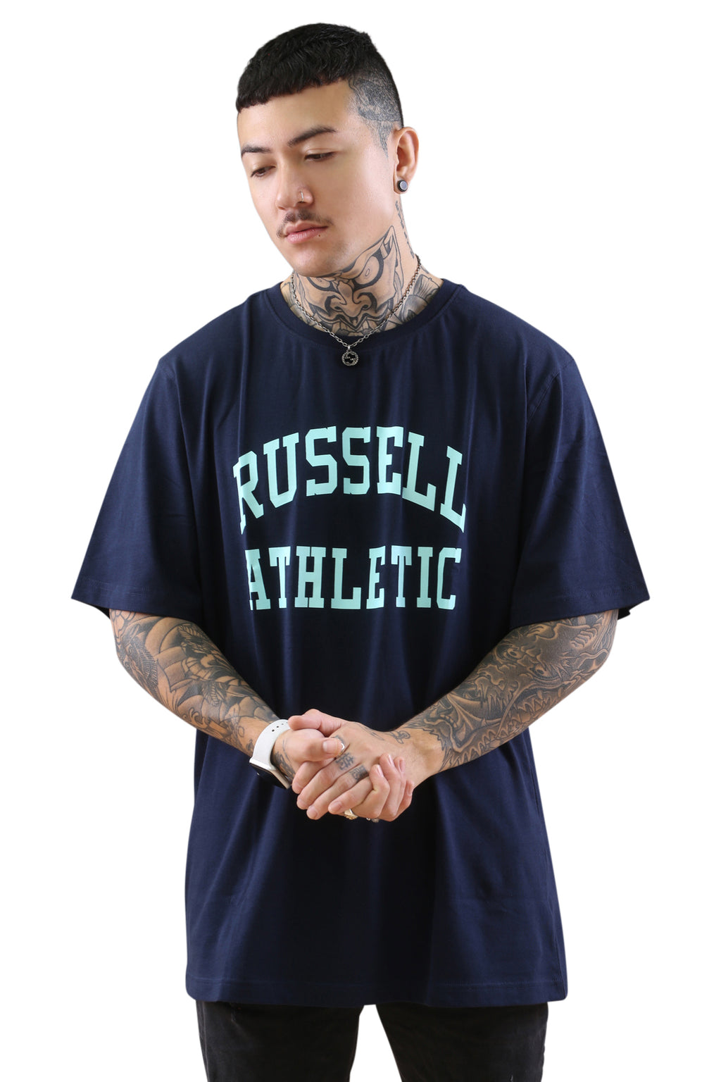 Russell Athletic Arch Logo Crew Tee Navy