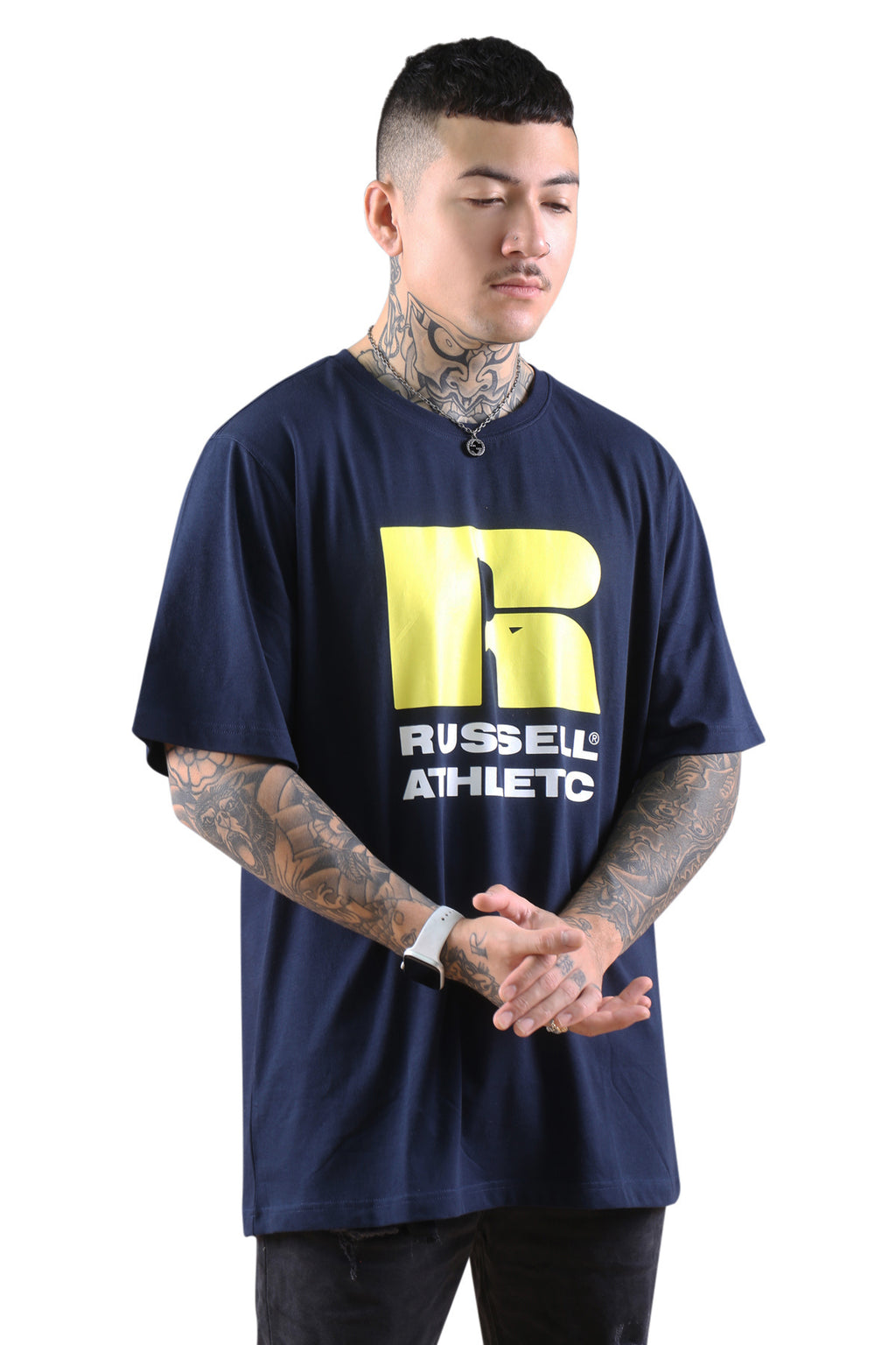 Russell Athletic Stacked Crew Tee Navy