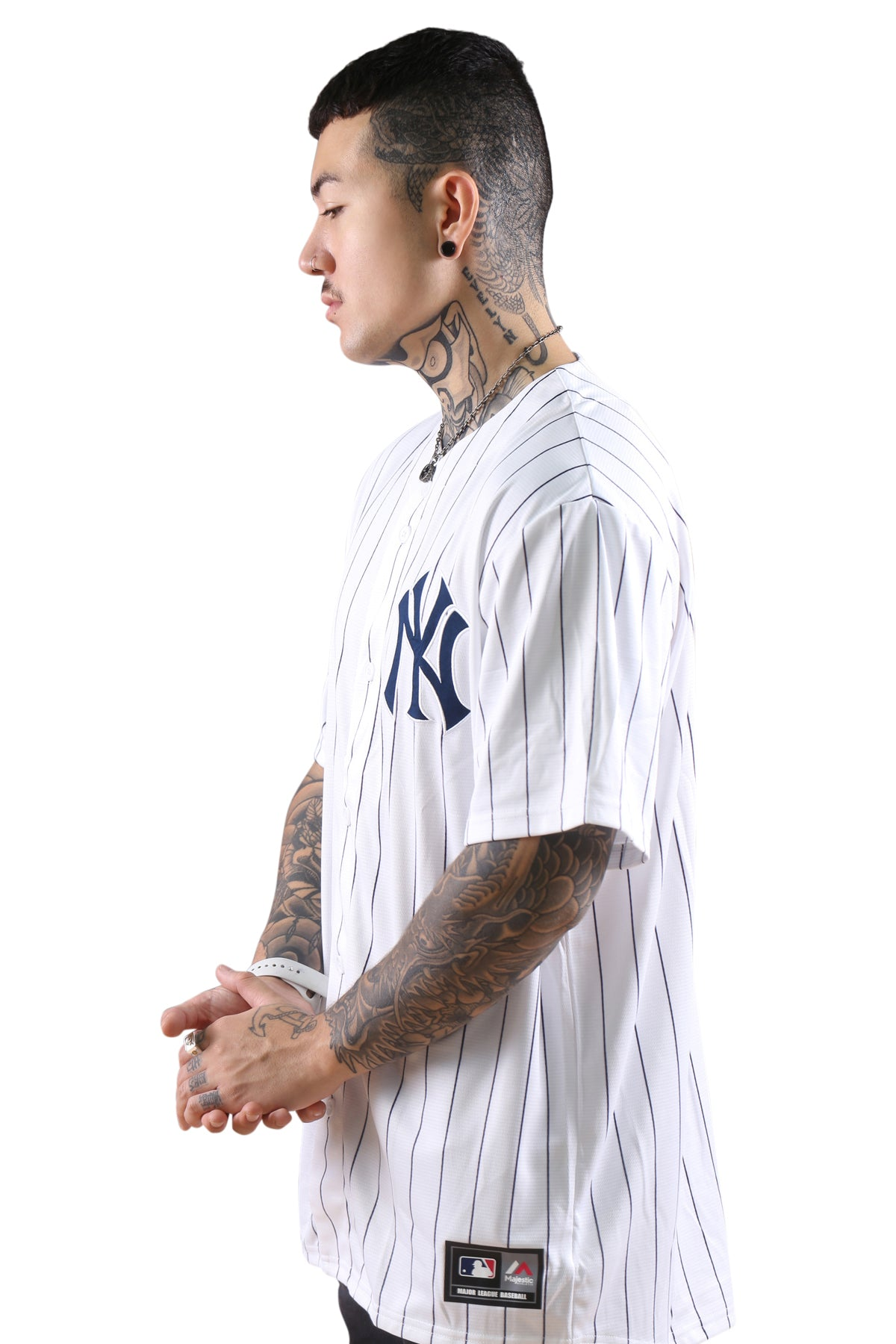 Majestic NY Chest Logo Replica Jersey Stripe White Angle