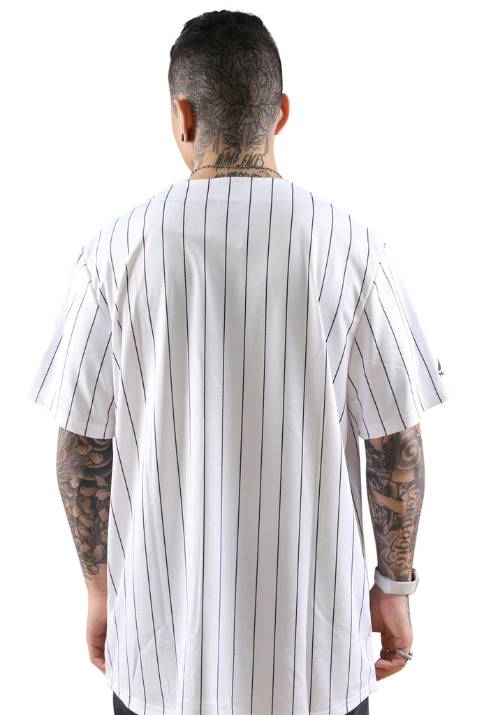 Majestic NY Chest Logo Replica Jersey Stripe White Back