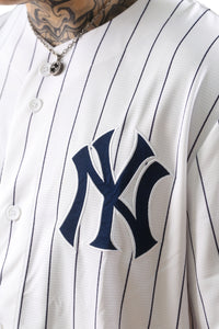 Majestic NY Chest Logo Replica Jersey Stripe White Detail 1