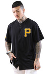 Majestic Pirates Chest Logo Replica Jersey Black Front