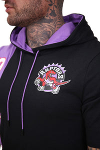 M&N Raptors Shortsleeve Split Hoody Black/Purple Detail 1