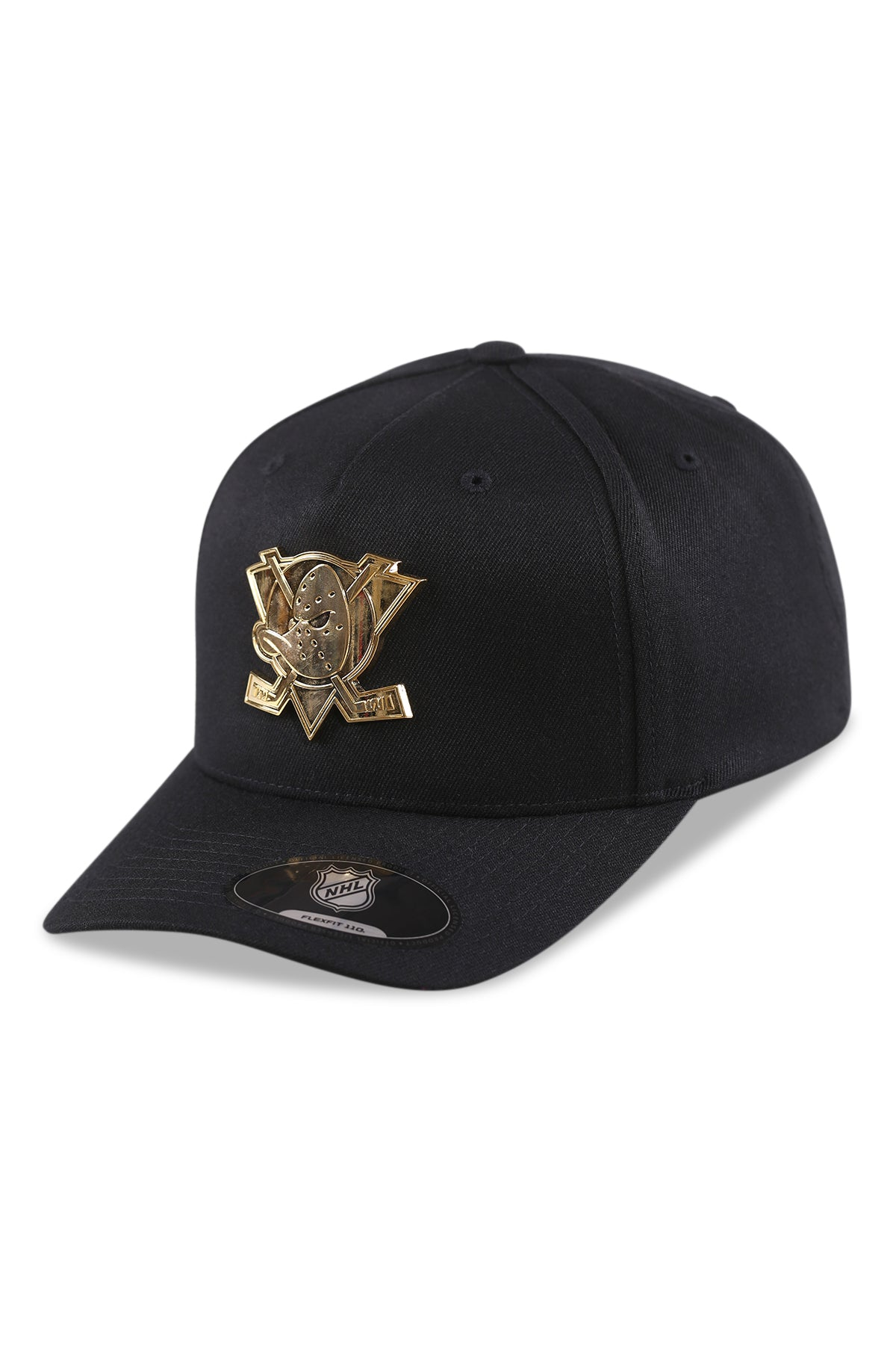 Majestic Ducks NHL Gold Enamel Crest Black Snapback