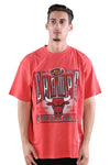 M&N Bulls Vintage Winner Takes All Tee Faded Red Front