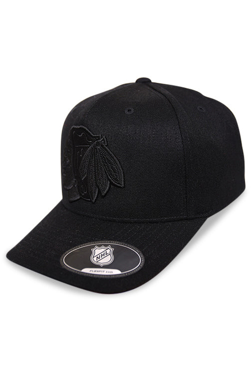 Majestic Blackhawks NHL Black/Black Crest High Crown 110 Snapback