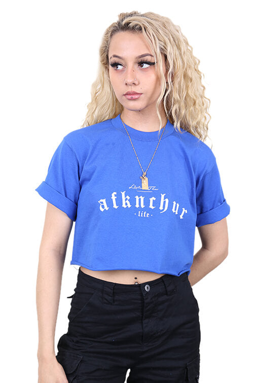 AFKNCHUR Pro Club Womens Lifestyle Baggy Crop Blue