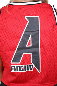 AFKNCHUR Womens Cropped A Life Basketball Jersey Red