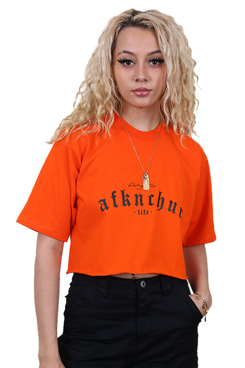 AFKNCHUR Pro Club Womens Lifestyle Baggy Crop Orange