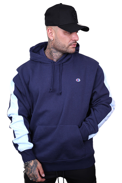 Champion Panel Hoodie Navy Front