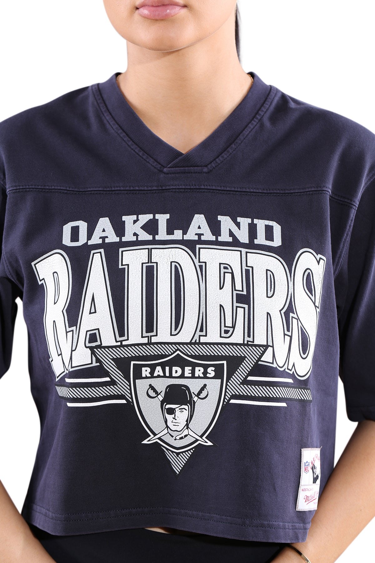 M&N Womens Raiders Off Field Throwback Crop Tee Black Detail