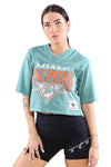 M&N Womens Dolphins Off Field Throwback Crop Tee Teal Front