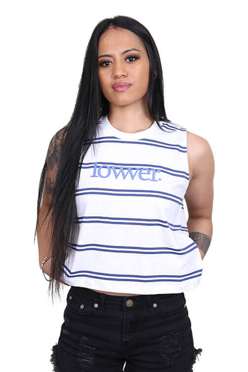 Lower Womens Applebox Cropped Tank Stripe Front