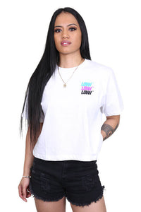 Lower Womens Low Stack Cropped Tee White Front