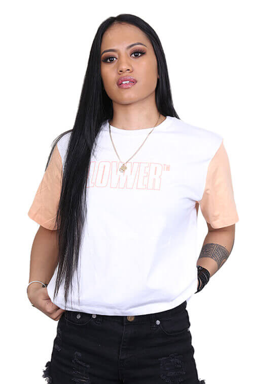 Lower Womens Vert Cropped Tee White Front