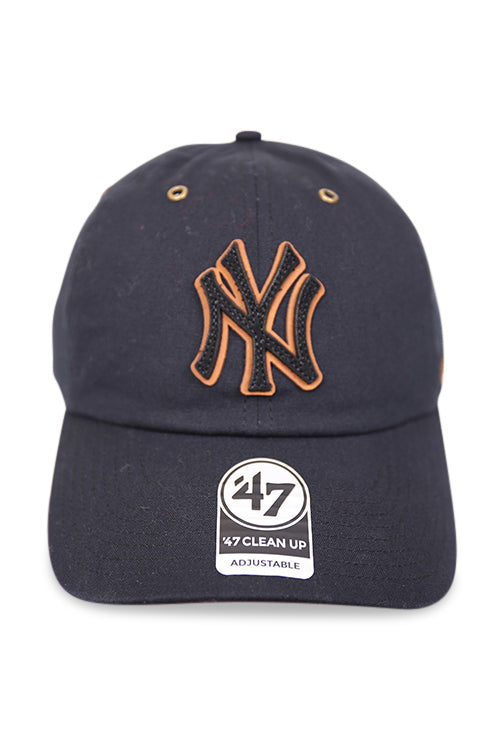 47 Brand NY Townhouse Canvas Clean Up Black Strapback Front